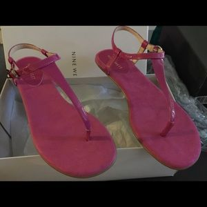 Nine West Shoes - Nine West Pink Fuchsia Flat Thong Sandals
